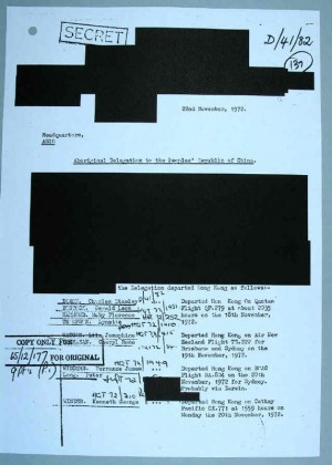 ASIO file - Charles Chicka Dixon Blacked out areas