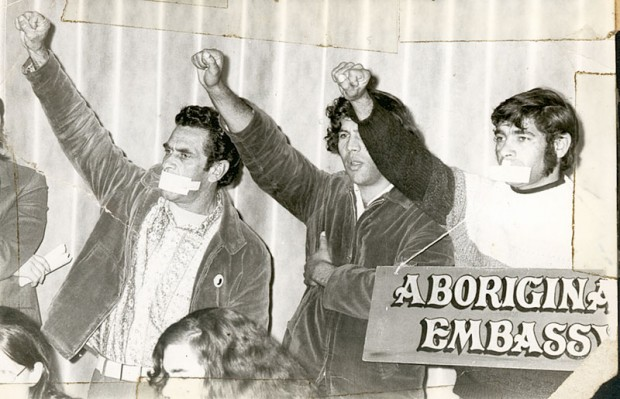 Charles Chicka Dixon (top left with mouth covered) at the 1972 Aboriginal Tent Embassy demonstration, Canberra.